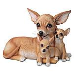 Chihuahua Kisses Lifelike Dog Sculpture