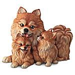 Pomeranian Kisses Lifelike Dog Sculpture