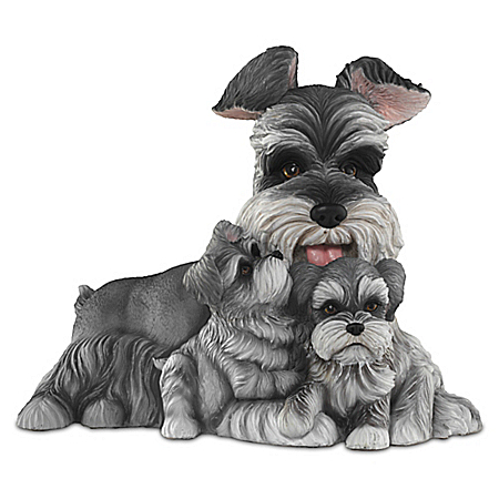 Schnauzer Kisses Lifelike Dog Sculpture
