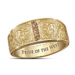 Pride Of The West Heritage Whiskey Diamond Engraved Ring