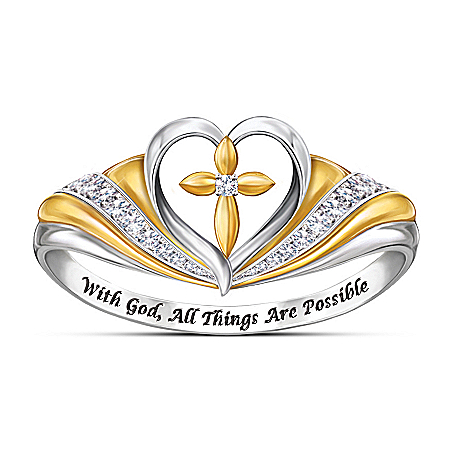 With Faith In My Heart Diamond 18K Gold-Plated Ring