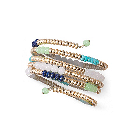 Canyon Blues Coil Wrap Bracelet With Turquoise, Jade And Blue Lapis