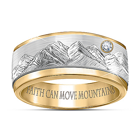 Faith Can Move Mountains Inspirational Men's Diamond Spinning Ring