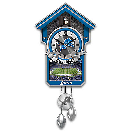 Detroit Lions Cuckoo Clock With Image Of Ford Field