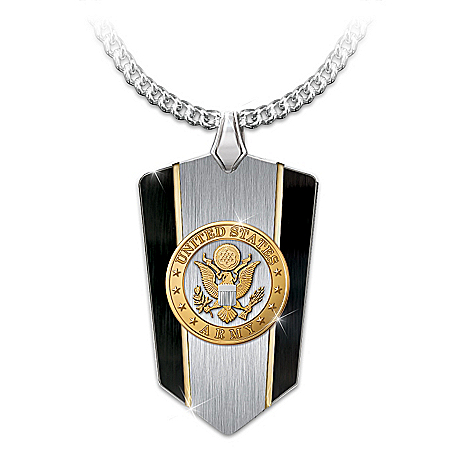 U.S. Army Shield Pendant Stainless 24K Gold-Plated Necklace