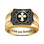 Cowboy's Faith And Strength Men's Diamond And Onyx Western Ring Plated In 18K Gold