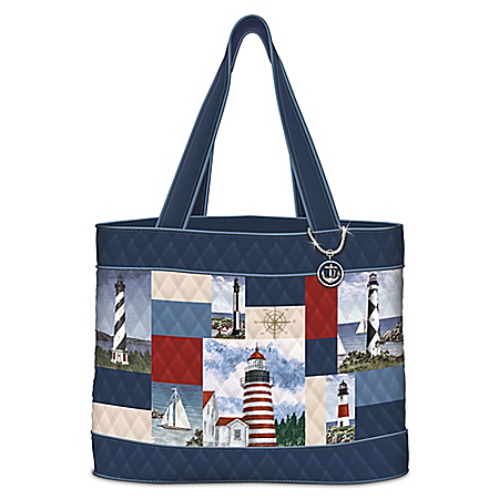 Light Of The Sea Women's Quilted Tote Bag With Lighthouses
