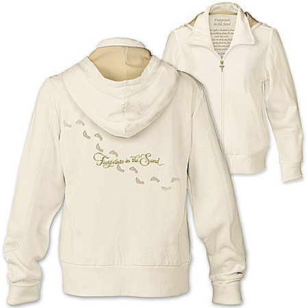 Footprints In The Sand Women's Full Zipper Ivory Hoodie With Poem