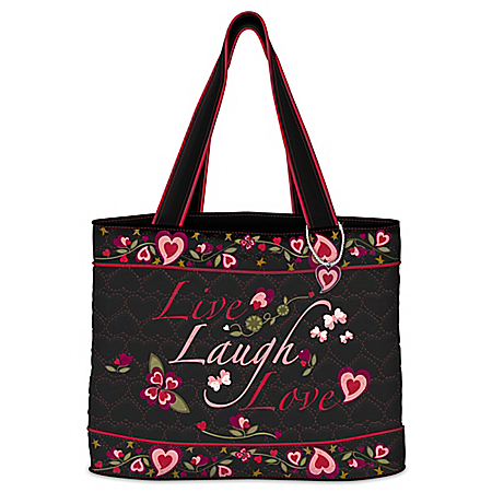 Live Laugh Love Women's Quilted Tote Bag