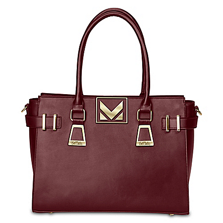 Bob Mackie Napa Merlot Leather Handbag With Adjustable Strap