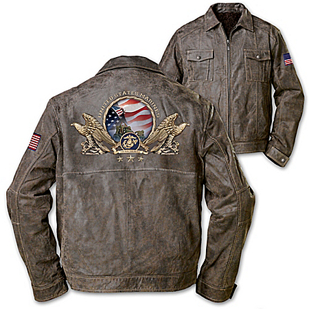 The Few & The Proud Marines Brown Leather Men's Jacket
