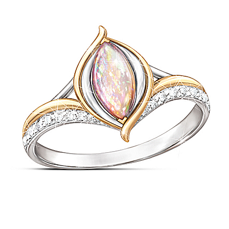 World On Fire Created Opal Sterling Silver Ring