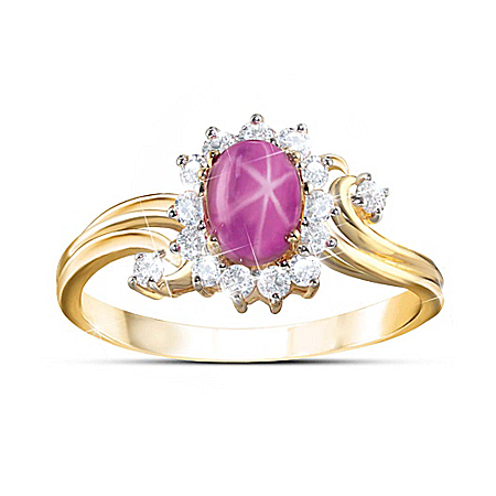 Spark Of Romance 18K Gold-Plated Created Star Ruby Ring