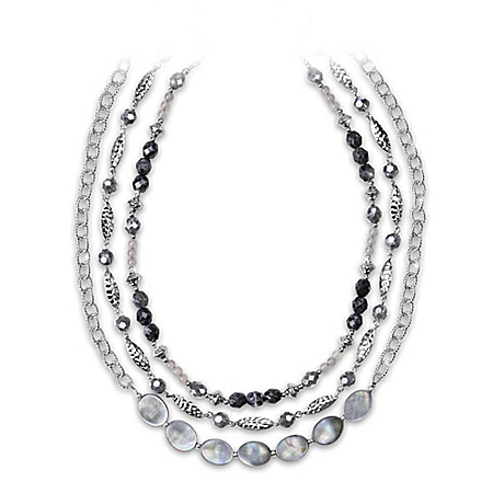 Facets Of You City Chic Mother Of Pearl 3 Layered Necklace Set