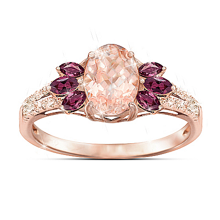 Champagne Delight 18K Rose Gold-Plated Morganite And Diamond Ring
