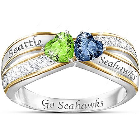 NFL Heart Of Seattle Seahawks Women's Crystal Ring