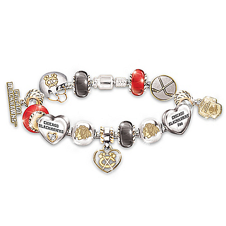 Chicago Blackhawks® #1 Fan Sterling Silver Plated Charm Bracelet