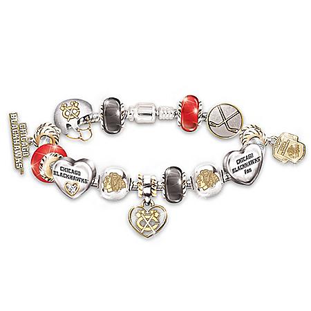 Chicago Blackhawks® #1 Fan Sterling Silver Plated Charm Bracelet