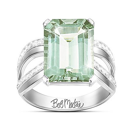 Bob Mackie Allure Green Amethyst Silver Ring