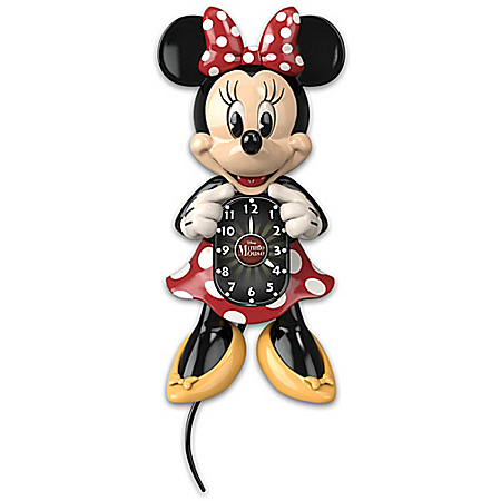 Hand-Painted Disney Minnie Mouse Eyes & Tail Motion Wall Clock