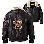 American Pride Men's Aviator Leather Jacket In Dark Brown