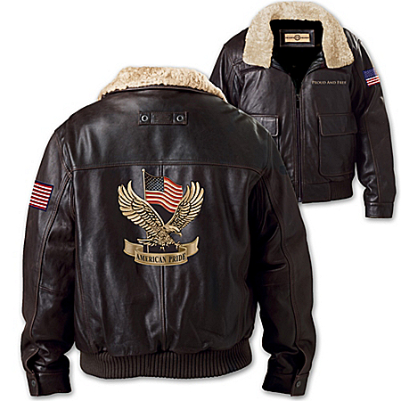 American Pride Men's Aviator Leather Jacket In Dark Brown