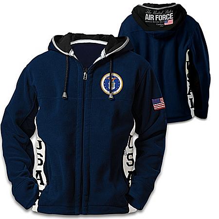 U.S. Air Force Hoodie: Men's Navy Blue Hooded Fleece Jacket