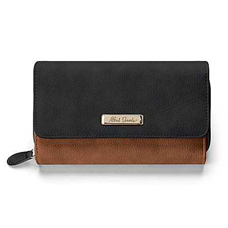Alfred Durante Designer Women's Black And Brown Faux Leather Wallet