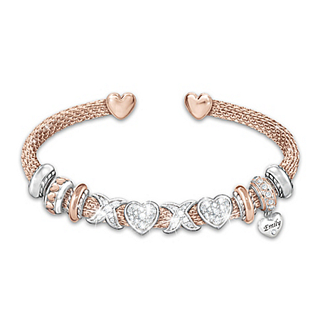 All My Love Personalized Swarovski Crystal And 18K Rose Gold-Plated Daughter Bracelet – Personalized Jewelry
