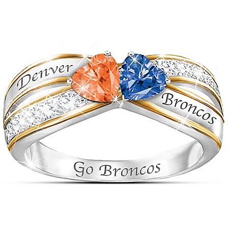 NFL Heart Of Denver Broncos Women's Silver Ring