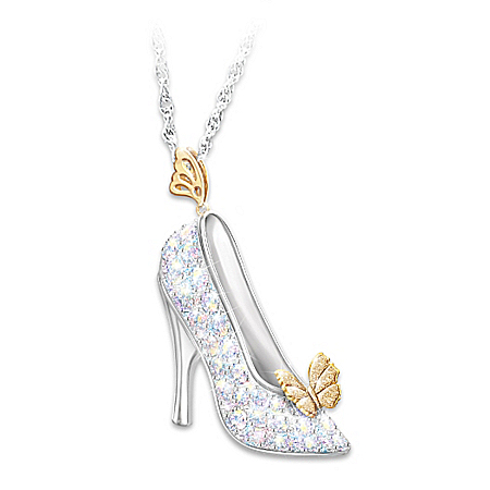 Disney Cinderella Crystal Slipper Pendant Necklace 122406001
