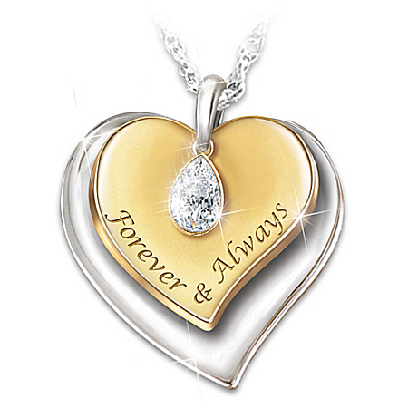 Forever In My Heart Sterling Silver White Topaz Pendant Necklace