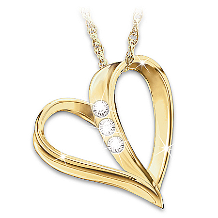 My Daughter, My Heart, My Love Engraved Diamond Pendant Necklace