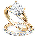 Princess 18K Gold-Plated Personalized Bridal Wedding Ring Set For Women