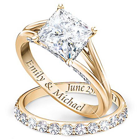 Princess 18K Gold-Plated Personalized Bridal Wedding Ring Set For Women – Personalized Jewelry