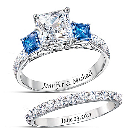 Something Blue Personalized Women's Bridal Ring Set – Personalized Jewelry