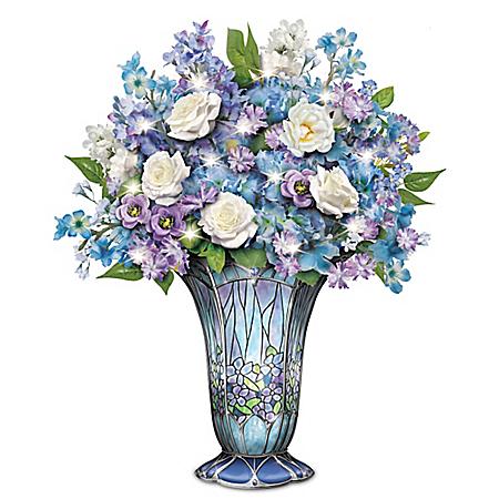 Louis Comfort Tiffany-Style Timeless Beauty Illuminated Table Centerpiece