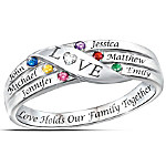 Love Holds Our Family Together Personalized Diamond and Birthstones Ring