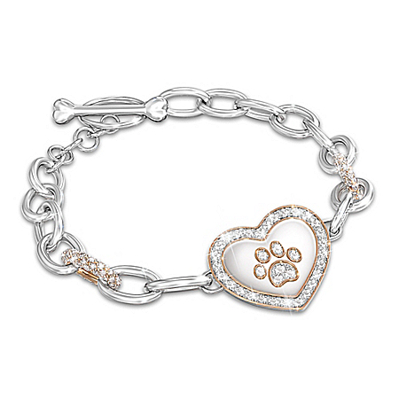 Pet Lover's Crystal Paw Print Women's Bracelet