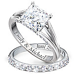 Princess Platinum-Plated Personalized Bridal Wedding Ring Set For Women
