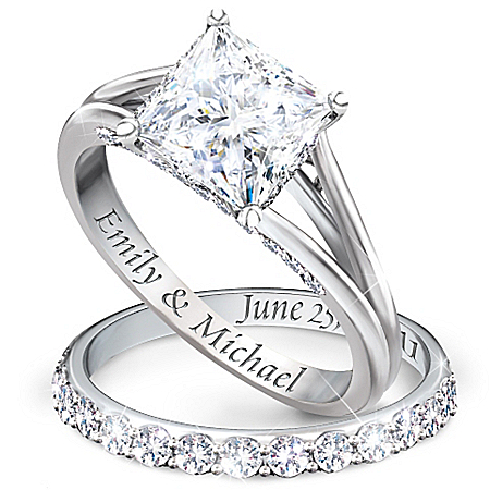 Princess Platinum-Plated Personalized Bridal Wedding Ring Set For Women – Personalized Jewelry