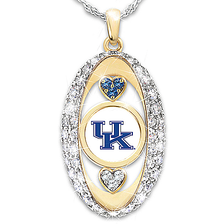 Kentucky Wildcats Engraved Pendant Necklace with Team Colored Swarovski Crystals
