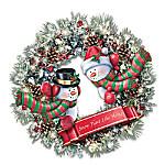 Thomas Kinkade Winter's Welcome Light Up Wreath
