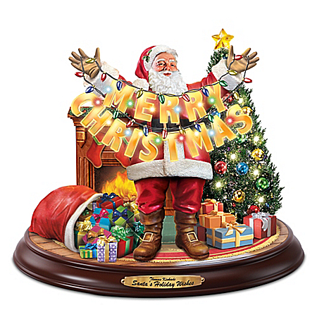 Thomas Kinkade Santa's Holiday Wishes Christmas Sculpture