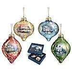 Thomas Kinkade Light Up The Season Luminary Glass Ornament Set
