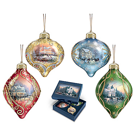 Thomas Kinkade Light Up The Season Luminary Glass Ornament Set