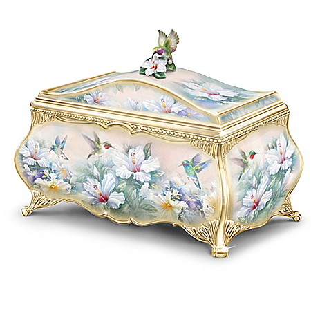 Birds, Butterflies and Flowers Porcelain Musical Trinket Box - Jewels Of The Garden