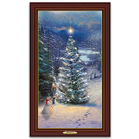 Thomas Kinkade O' Christmas Tree Illuminated Wall Decor Canvas