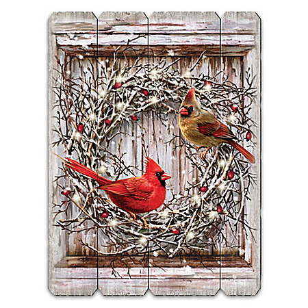 All Is Calm, All Is Bright Illuminated Songbird Wall Decor