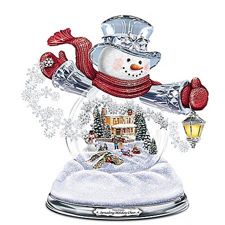 Thomas Kinkade Spreading Holiday Cheer Musical Snowman Snowglobe